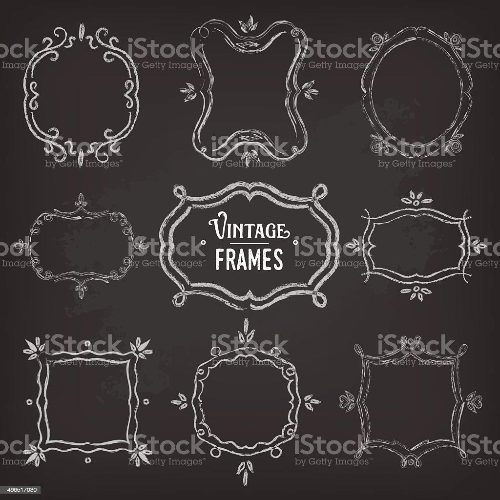 Set of 9 cute vintage chalk frames of different orientations vector art illustration
