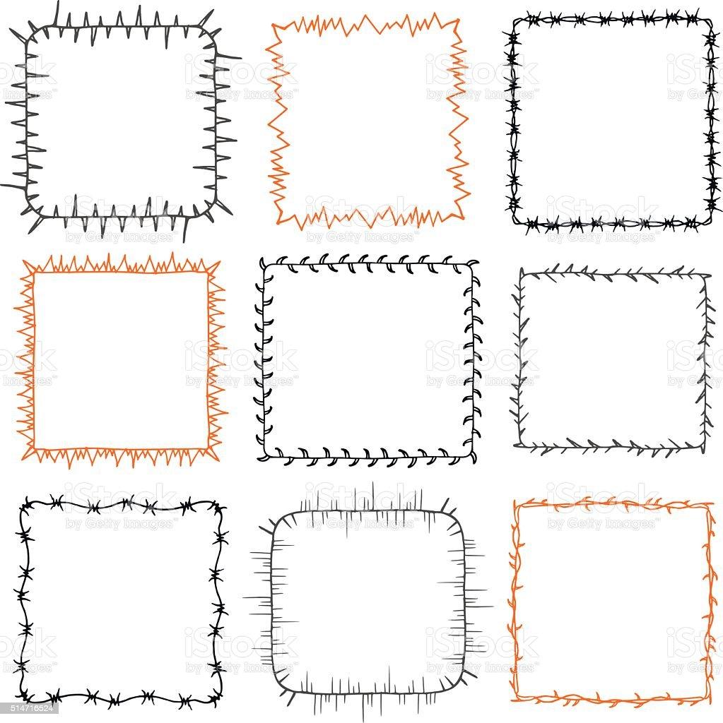 Set of 9 decorative square frames vector art illustration