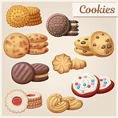 Set of 9 delicious cookies. Cartoon vector illustration. Food sweet icons.
