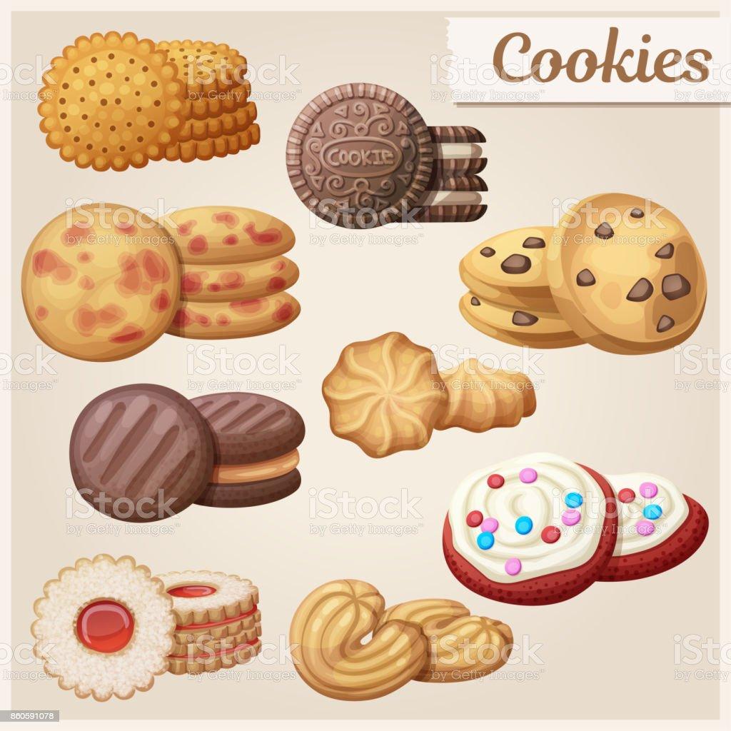 Set of 9 delicious cookies. Cartoon vector illustration. Food sweet icons. vector art illustration