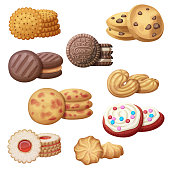 Set of 9 delicious cookies. Cartoon vector illustration. Food sweet icons isolated on white background