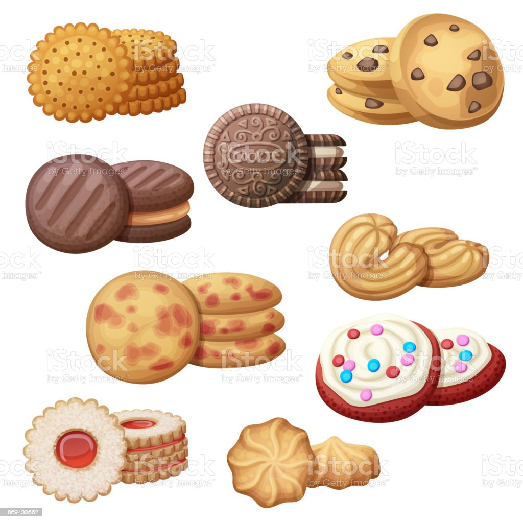 Set of 9 delicious cookies. Cartoon vector illustration. Food sweet icons isolated on white background vector art illustration