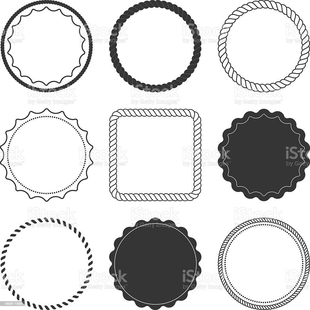 Set of 9 design summer elements, frames, borders vector art illustration