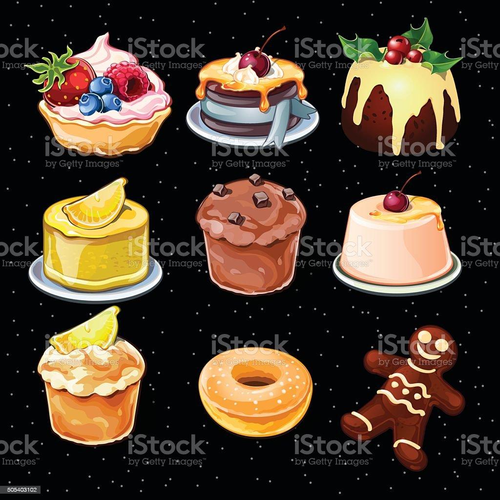 Set of 9 desserts icons on a black background vector art illustration