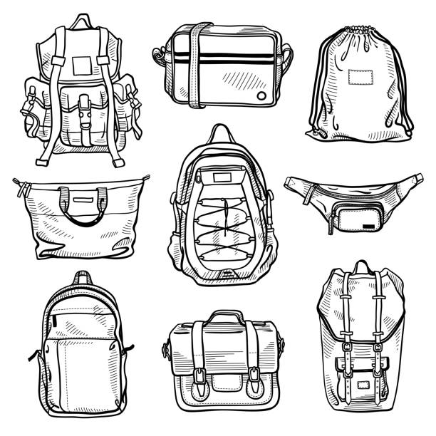 satz von 9 mode herren taschen und unisex rucksäcke skizzen: klassische rucksack, umhängetasche, bauchtasche, tunnelzug rucksack, shopper tasche, ledertasche, fall, umhängetasche - lederverarbeitung stock-grafiken, -clipart, -cartoons und -symbole