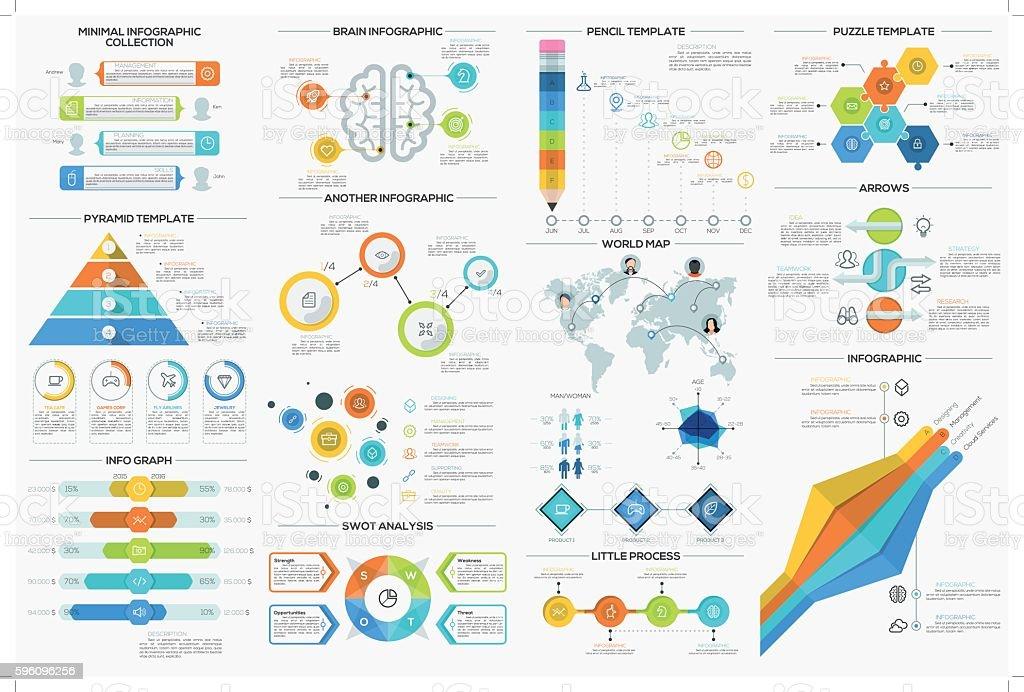 Satz von 9 flache minimale Infografiken  Lizenzfreies satz von 9 flache minimale infografiken stock vektor art und mehr bilder von clipart