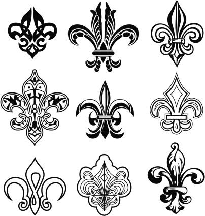 Set of 9 fleur de Lis illustration