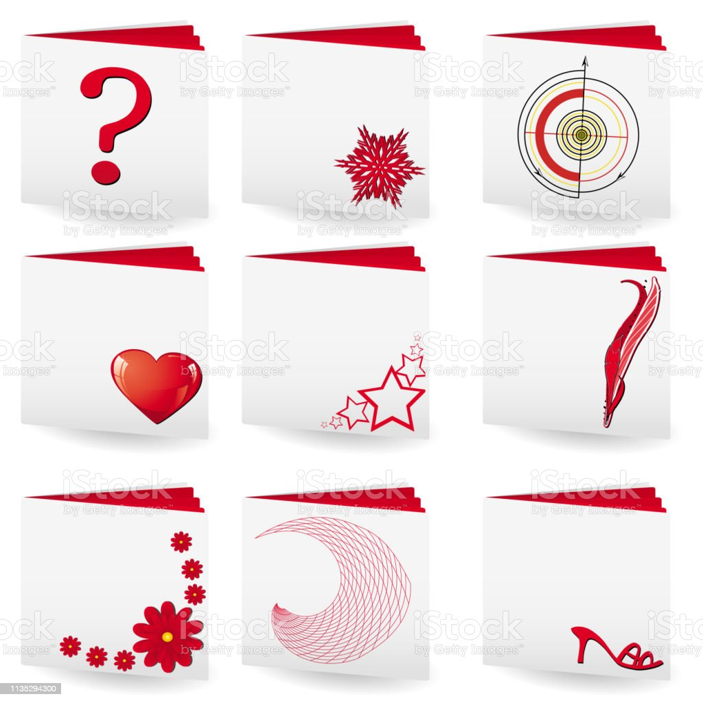 Set Of 9 Folders With White Covers And Red Pages Stock Vector Art & More  Images of Briefcase
