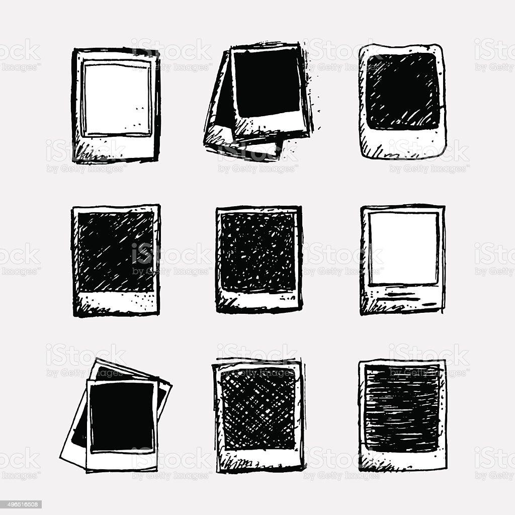Set Of 9 Hand Drawn Sketchy Polaroid Doodles Monochrome