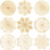 Set of 9 hand-drawn vector Arabic mandala on white background. Ethnic decorative ornament. Gold contour mandala symbols for coloring page.
