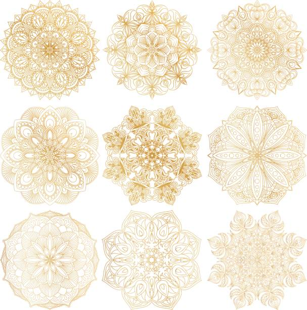 Set of 9 hand-drawn vector Arabic mandala on white background. Ethnic decorative ornament. Gold contour mandala symbols for coloring page. Set of 9 hand-drawn vector Arabic mandala on white background. Ethnic decorative ornament. Gold contour mandala symbols for coloring page. Round abstract oriental ornament for cards, textile prints. coloring book pages templates stock illustrations