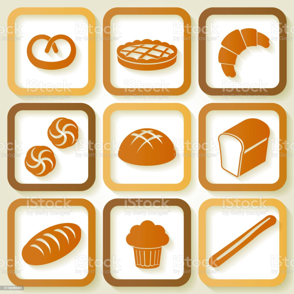 Set of 9 icons of fresh bread and pastry vector art illustration