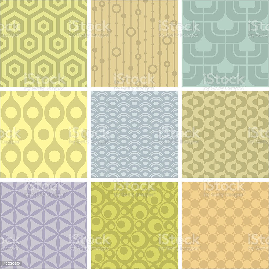 Set of 9 pastel shaded geometric pattern squares vector art illustration