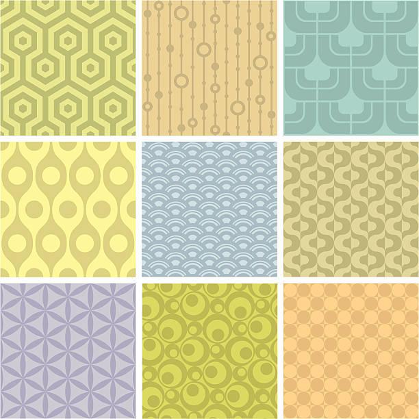 Set of 9 pastel shaded geometric pattern squares Nine retro-inspired backrounds. kitsch stock illustrations