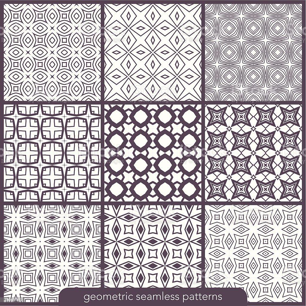 Set of 9 seamless geometric patterns. royalty-free stock vector art