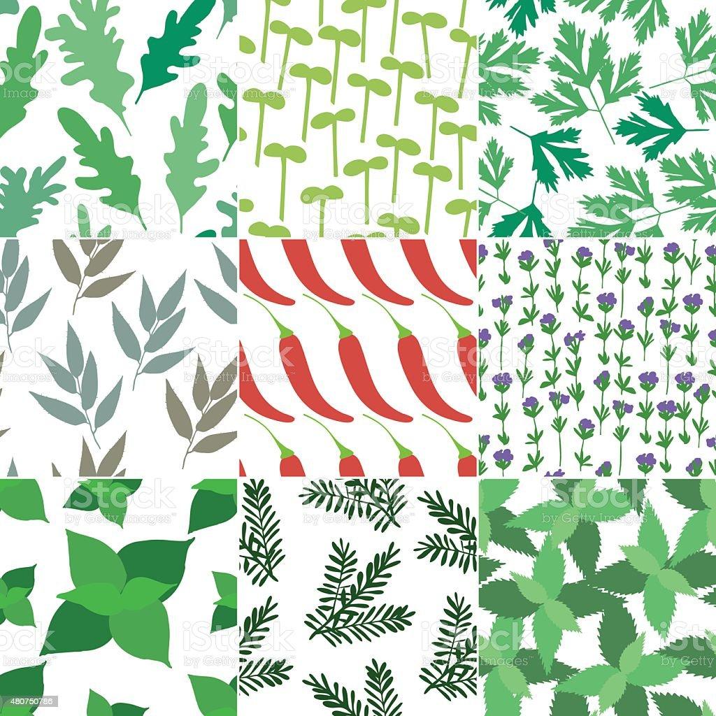 Set of 9 seamless hand drawn patterns vector art illustration