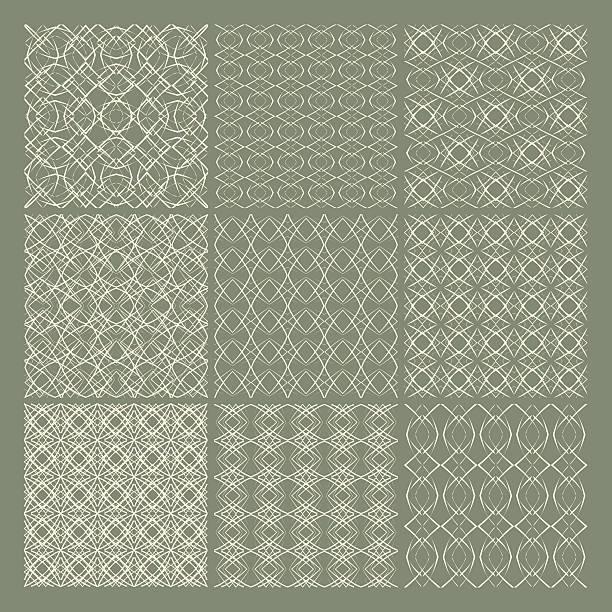 satz von 9 nahtlose muster - rankgitter stock-grafiken, -clipart, -cartoons und -symbole