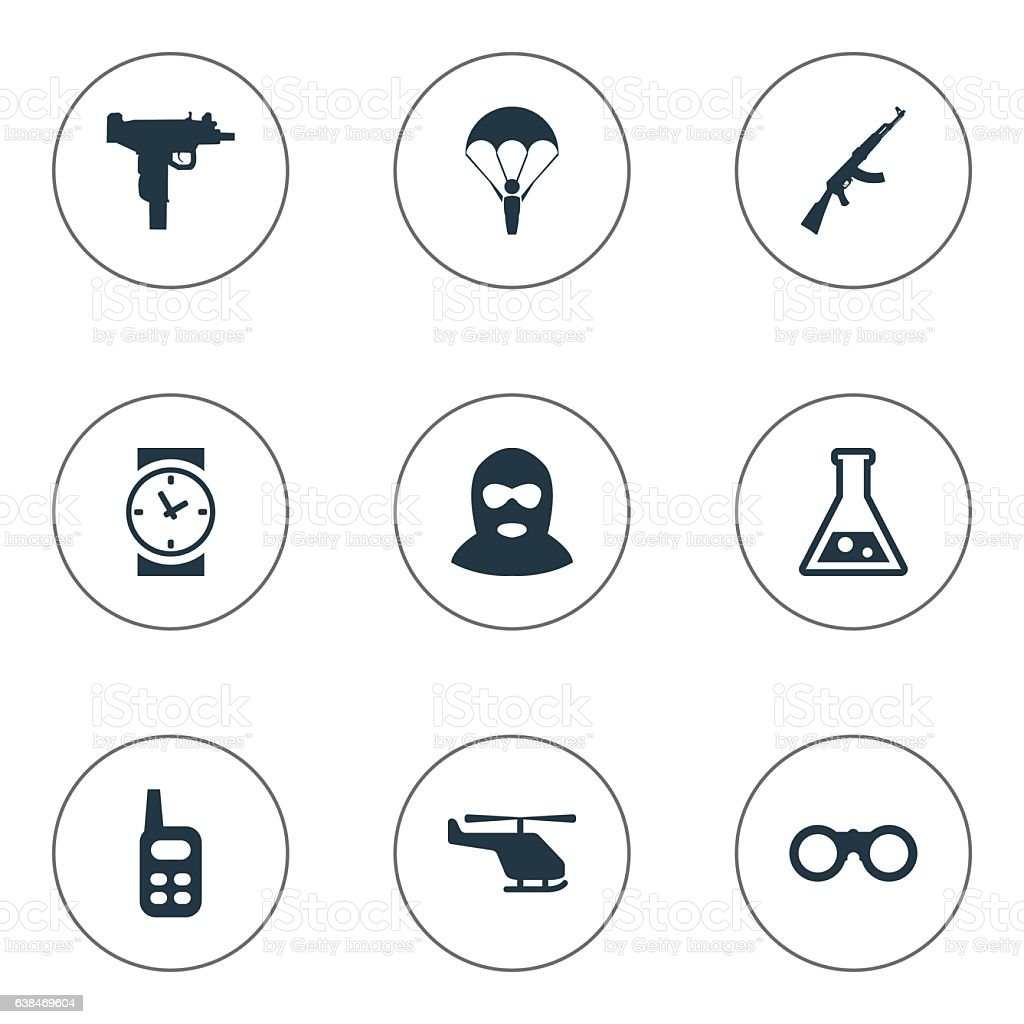 Set Of 9 Simple Army Icons. ベクターアートイラスト