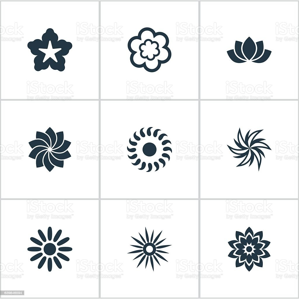 Set Of 9 Simple Blossom Icon vector art illustration