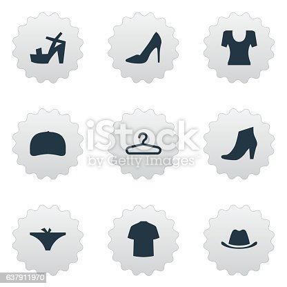 Set Of 9 Simple Dress Icons.