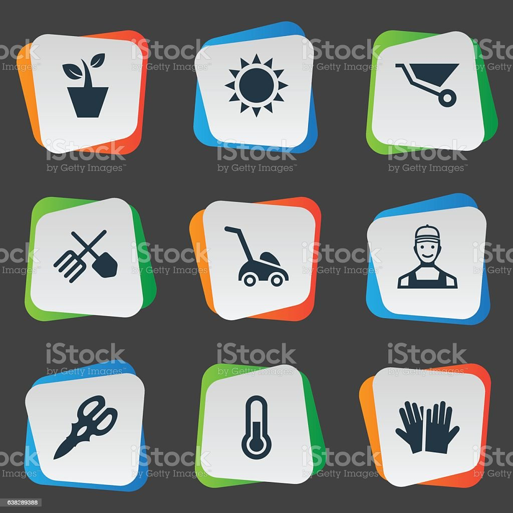 Set Of 9 Simple Garden Icons. vector art illustration
