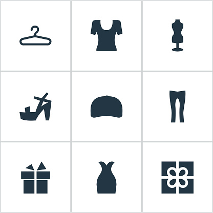 Set Of 9 Simple Garments Icons.