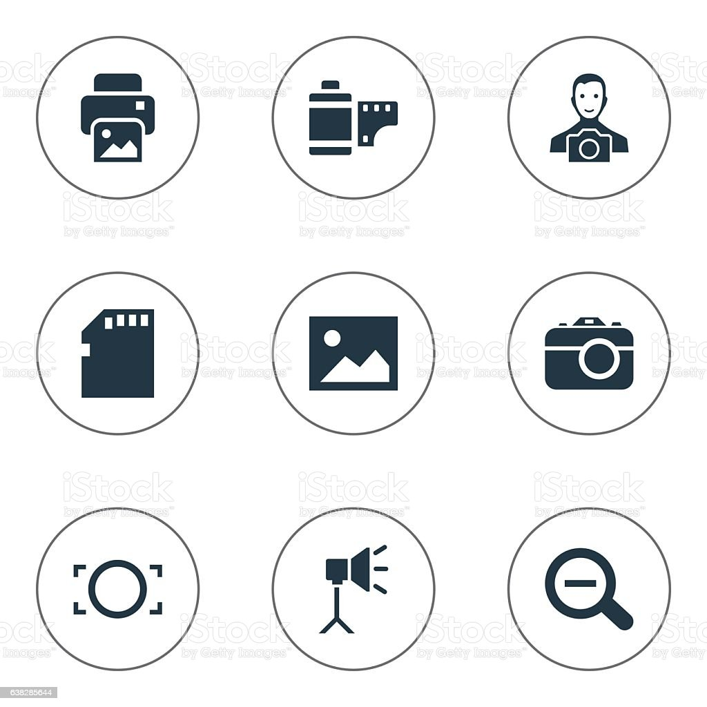 Set Of 9 Simple Photography Icons. vector art illustration
