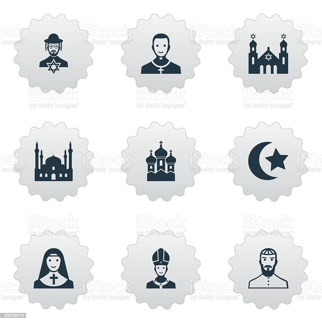 Set Of 9 Simple Religion Icons. vector art illustration