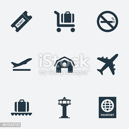 Set Of 9 Simple Transportation Icons. Can Be Found Such Elements As Cigarette Forbidden, Plane, Flight Control Tower And Other.