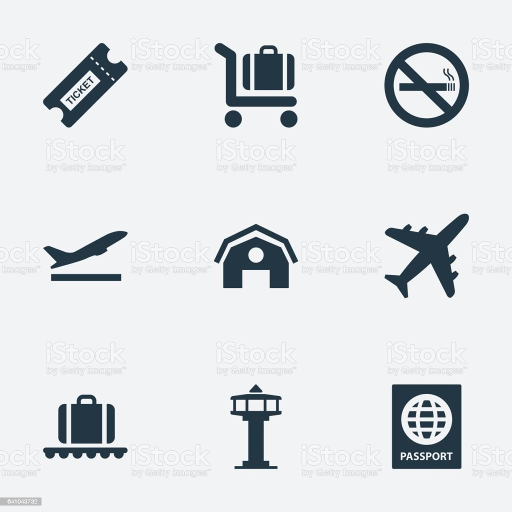 Set Of 9 Simple Transportation Icons. vector art illustration