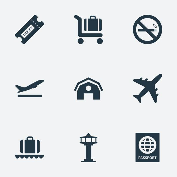 Set Of 9 Simple Transportation Icons. Set Of 9 Simple Transportation Icons. Can Be Found Such Elements As Cigarette Forbidden, Plane, Flight Control Tower And Other. airport stock illustrations