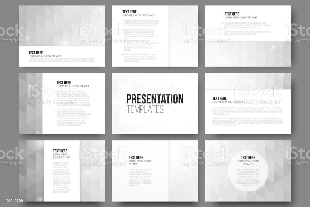 Set of 9 templates for presentation slides. Abstract gray backgrounds vector art illustration
