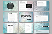Set of 9 templates for presentation slides. Abstract vector background