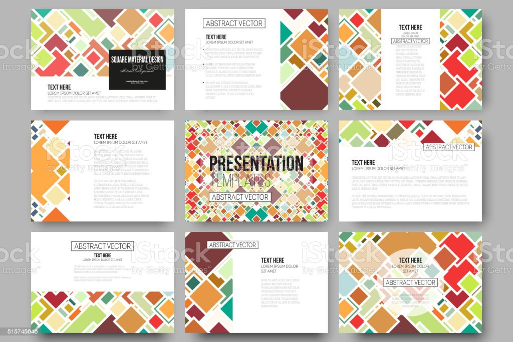 d95bab934ac8 Set of 9 templates for presentation slides. Material Design. Colored  royalty-free set