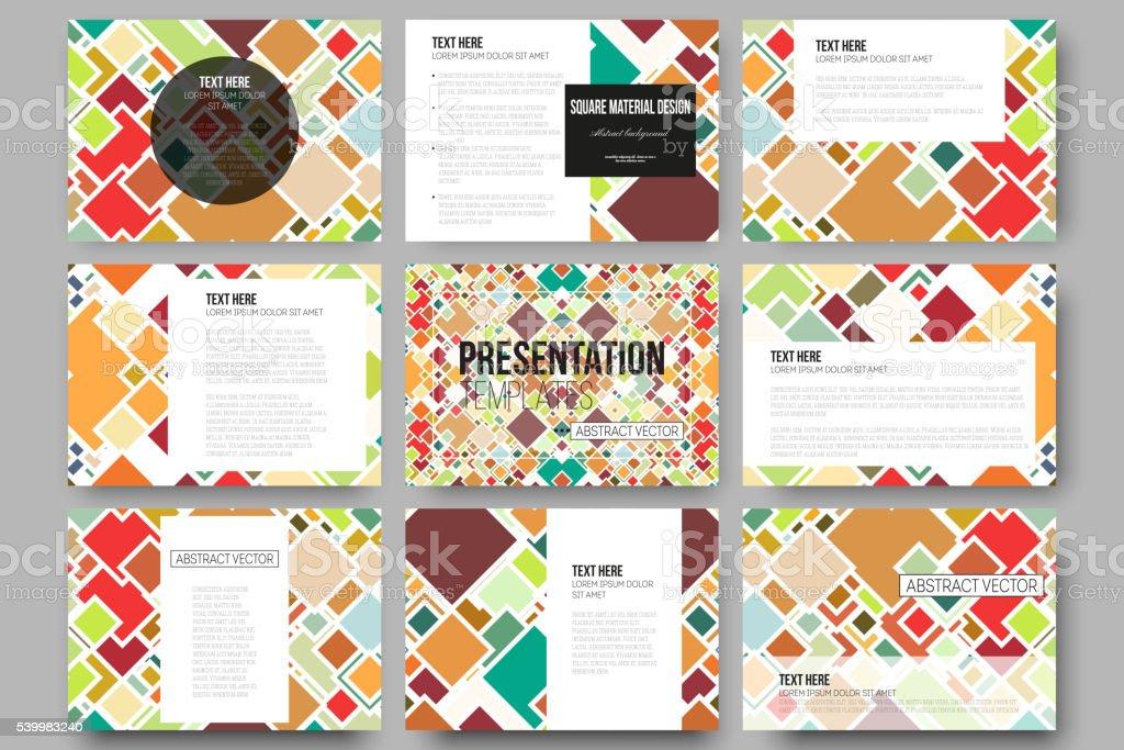 6be2d88ee1aa Set of 9 templates for presentation slides. Material Design. Colored -  Illustration .