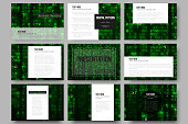 Set of 9 templates for presentation slides. Virtual reality, abstract
