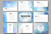 Set of 9 vector templates for presentation slides. Colorful graphic