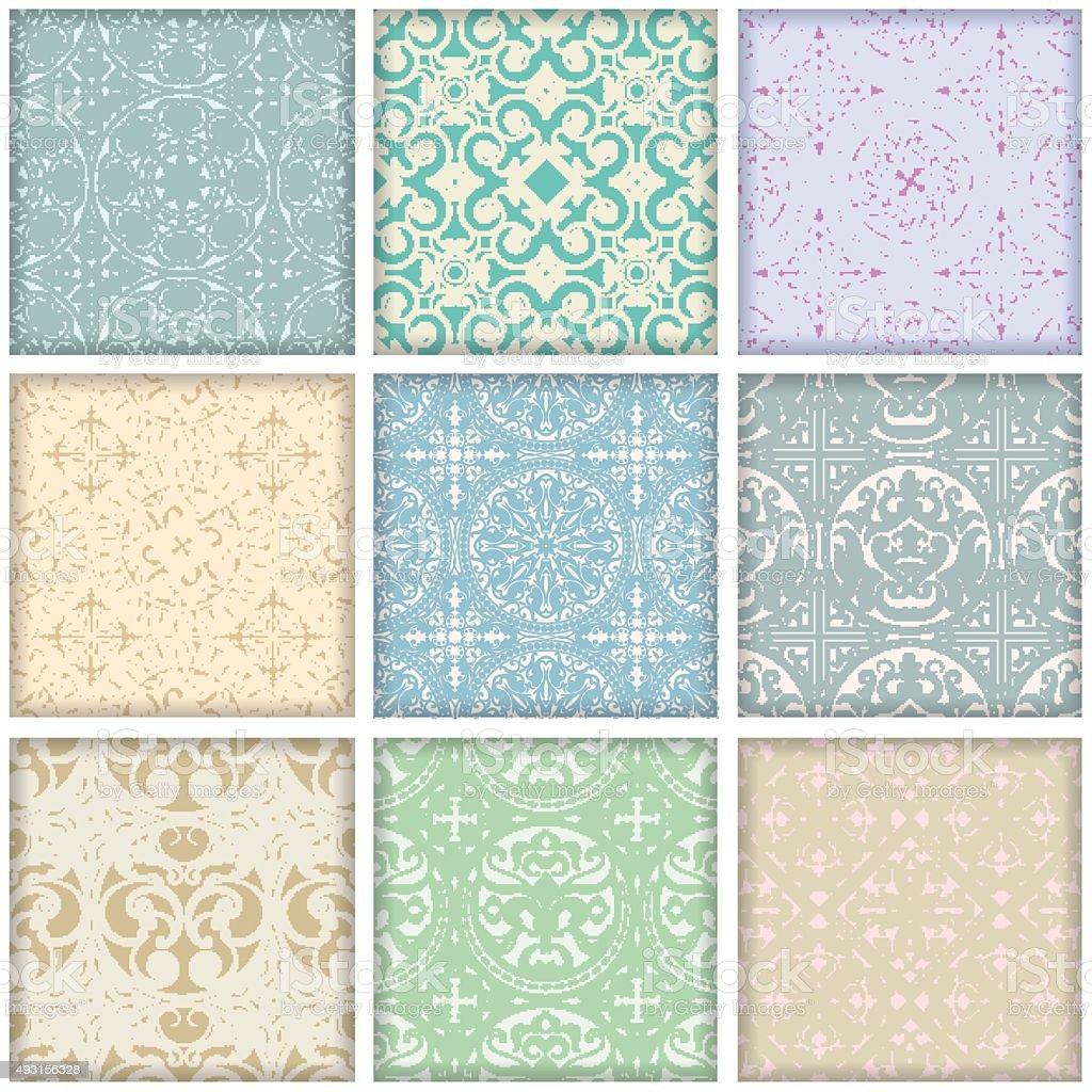 Set of 9 vintage retro geometric seamless patterns