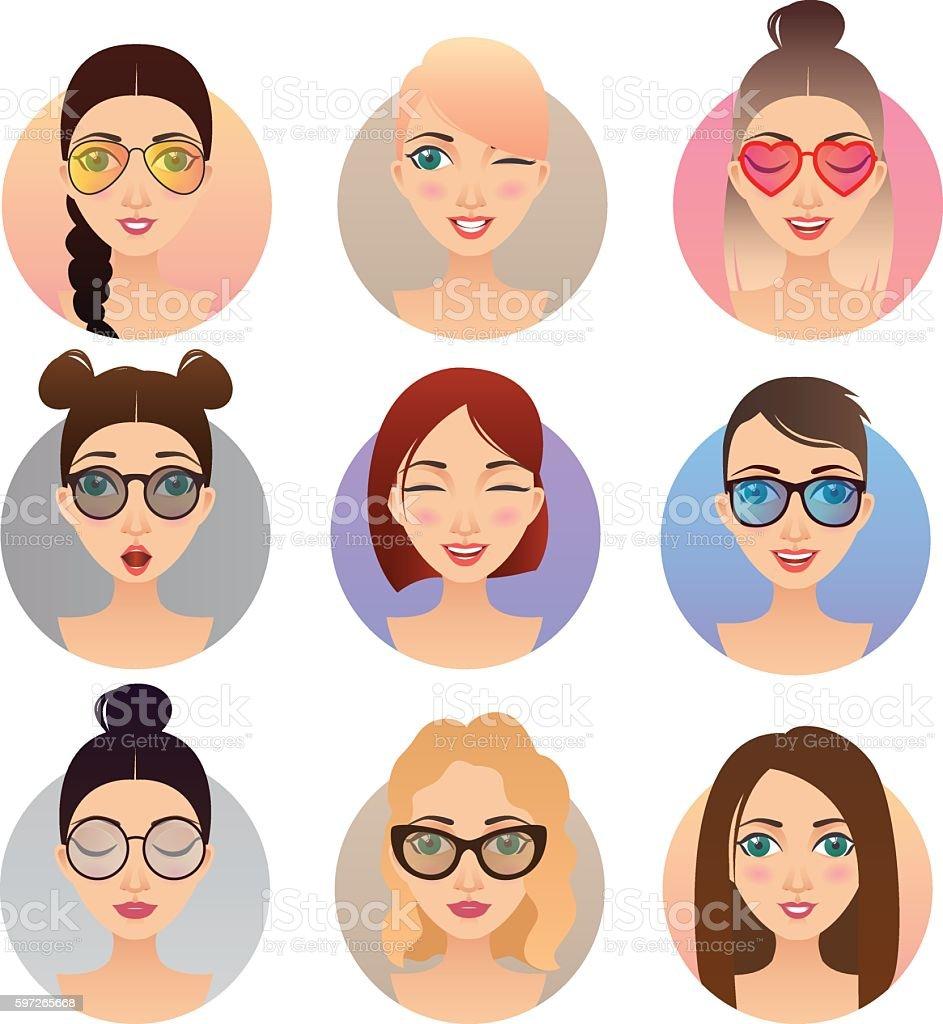 Set of 9 women avatars, people characters Lizenzfreies set of 9 women avatars people characters stock vektor art und mehr bilder von avatar