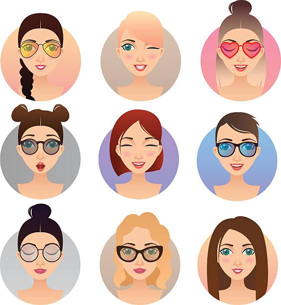 bildbanksillustrationer, clip art samt tecknat material och ikoner med set of 9 women avatars, people characters - profile photo