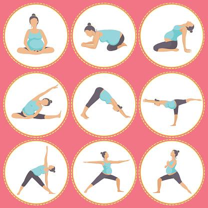 set of 9 yoga poses for pregnant women stock illustration