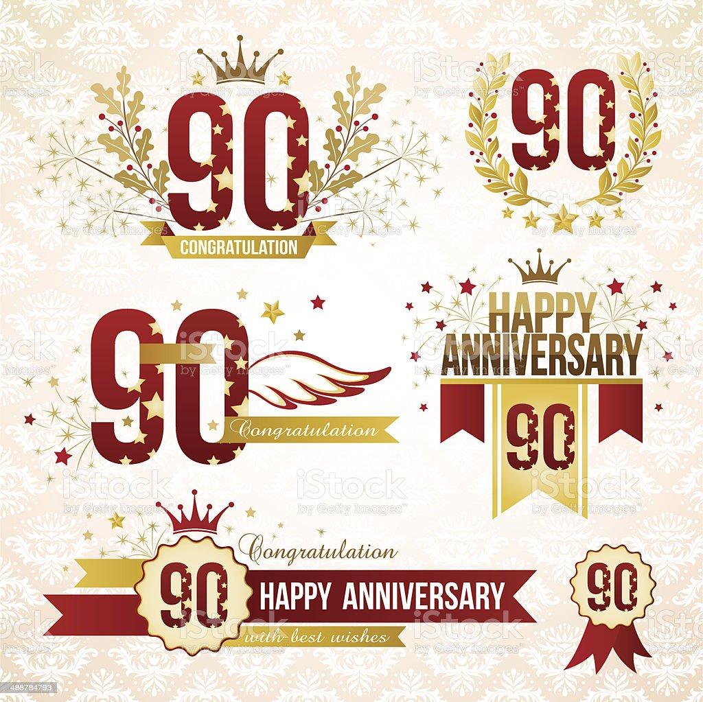 Satz von Embleme zum 90-jährigen Jubiläum. – Vektorgrafik