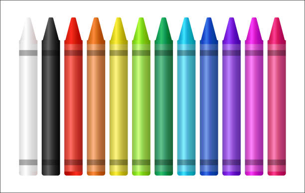 set of a color crayon on white background vector art illustration