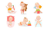 Collection set of a cute baby in different situations, playing, drawing, sleeping. Various child activities concept. Isolated icons set illustration on a white background in cartoon style.