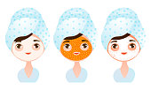 Collection set of a cute young girl with different types of facial masks. Skin Care concept. Isolated icons set illustration on a white background in cartoon style.