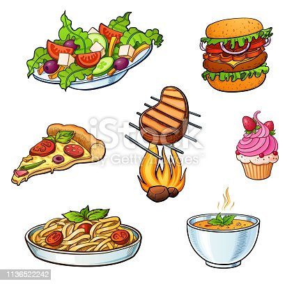 Restaurant cafe bar different type of a dishes colorful bright illustrations set. May be for menu stickers posters or other kind of design. Salad pizza pasta dessert and other