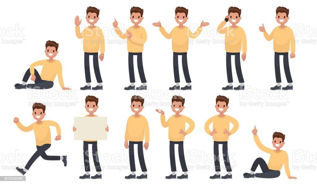 Set of a guy in casual clothes in different poses. A character for your project. Vector illustration in a flat style vector art illustration