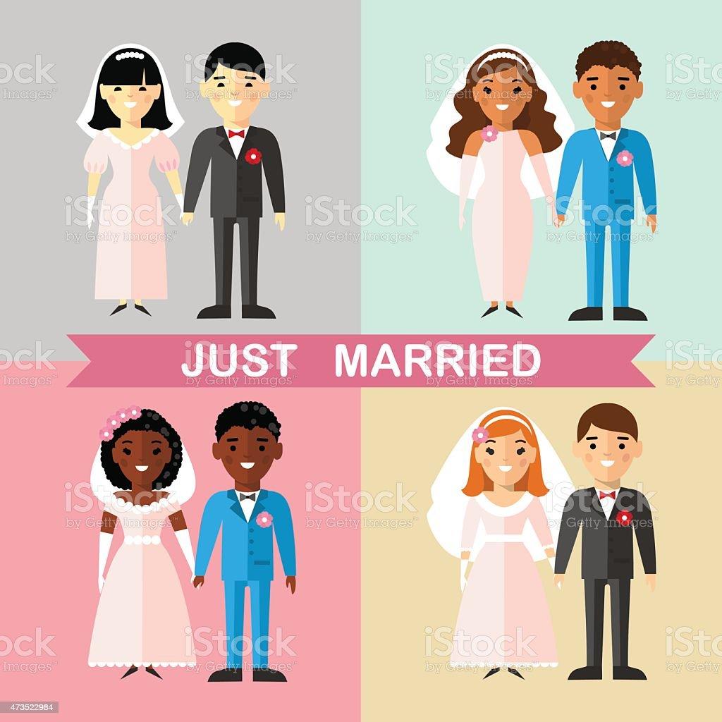 Ilustración de Juego De Un Matrimonio De Asia África American ...