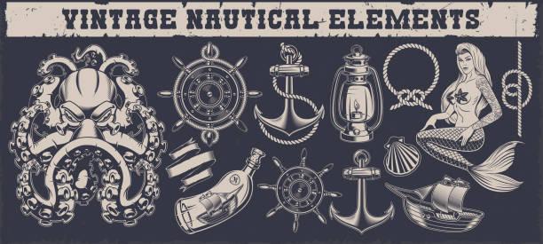 ilustraciones, imágenes clip art, dibujos animados e iconos de stock de conjunto de elementos náuticos vintage - tatuajes de sirenas