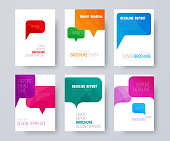 set of A4 covers with multi-colored bubbles talking.